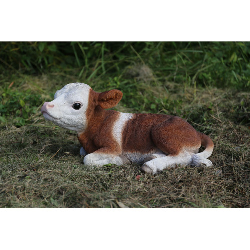 """20.5"""" Brown and White Calf Laying Down Garden Statue - IMAGE 1"""