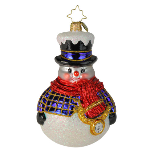 Christopher Radko Jolly All A-Round Snowman Glass Christmas Ornament - IMAGE 1