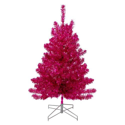 3' Metallic Pink Tinsel Artificial Christmas Tree - Unlit - IMAGE 1