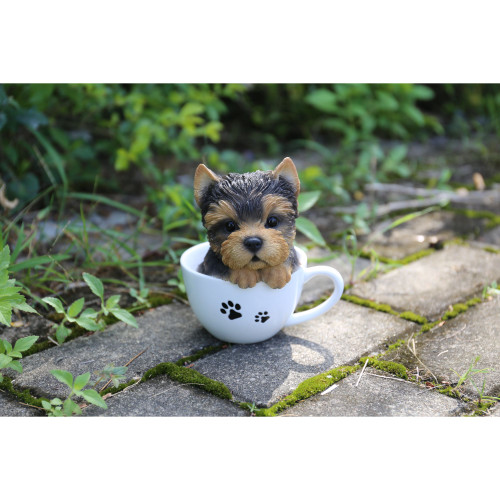 """6"""" Brown and White Puppy in Teacup Outdoor Statue - IMAGE 1"""