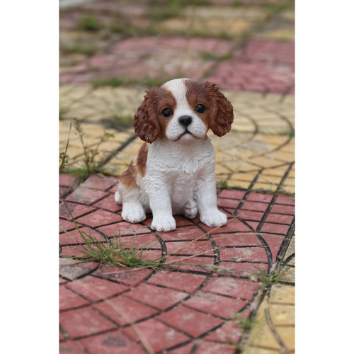 """6"""" Brown and White King Charles Puppy Statue - IMAGE 1"""