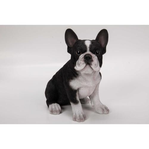 "7"" Black and White French Bulldog Puppy Garden Statue - IMAGE 1"