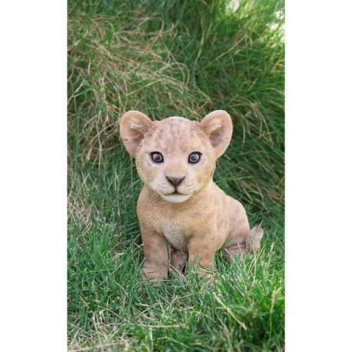 """6"""" Brown and White Sitting Lion Cub Figurine - IMAGE 1"""