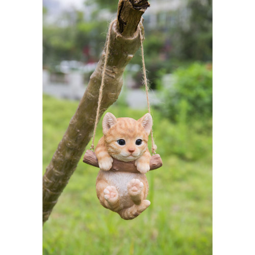 """5.5"""" Beige and White Hanging Tabby Kitten Statue - IMAGE 1"""