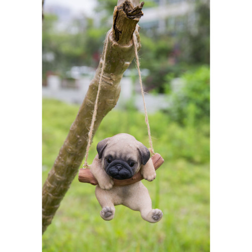 """5"""" Brown and Black Hanging Pug Puppy Statue - IMAGE 1"""