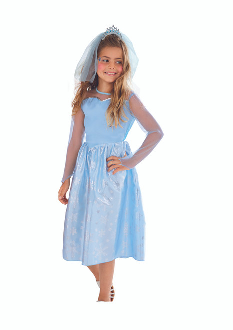 Blue and Silver Ice Princess Girl Child Halloween Costume - Large - IMAGE 1