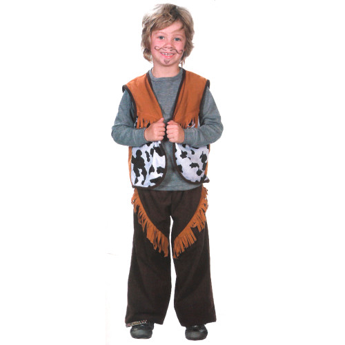 Brown and White Cowboy Boy Child Halloween Costume - Medium - IMAGE 1