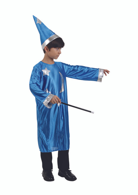 Blue and Silver Wizard Magician Boy Child Halloween Costume - Large - IMAGE 1