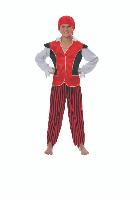 Red and Black Pirate Boy Child Halloween Costume - Medium - IMAGE 1
