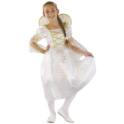 White and Gold Angel Girl Child Christmas Costume - Large - IMAGE 1