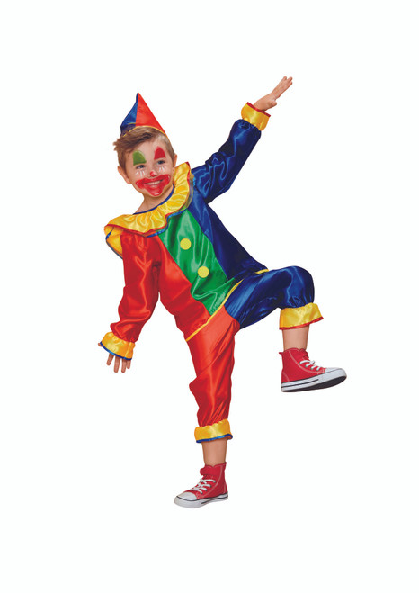 Red and Blue Clown Boy Child Halloween Costume - Large - IMAGE 1