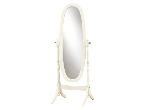 "59"" White and Clear Contemporary Wooden Framed Oval Floor Mirror - IMAGE 1"