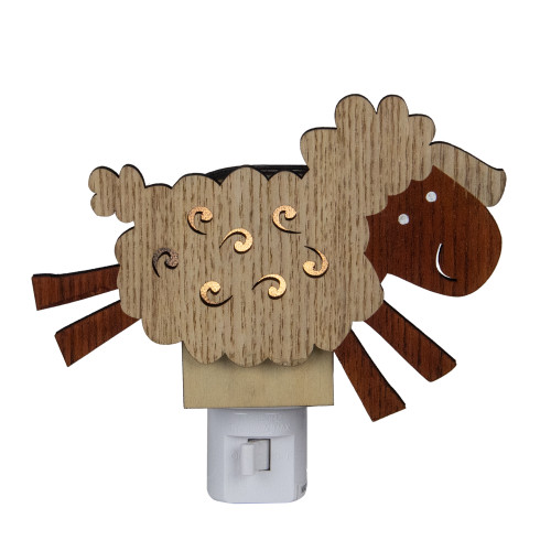 """6"""" Wooden LED Leaping Sheep Night Light - IMAGE 1"""