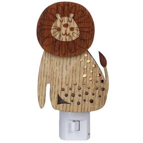 "6"" Wooden LED Smiling Lion Night Light - IMAGE 1"