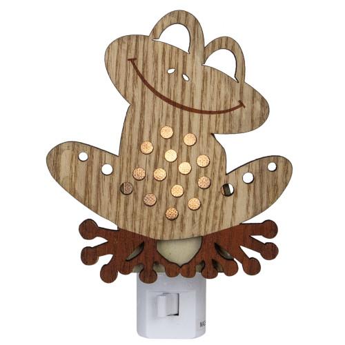 "6"" Wooden LED Smiling Frog Night Light - IMAGE 1"
