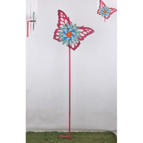"""54"""" Pink and Blue Contemporary Butterfly Outdoor Garden Wind Spinner - IMAGE 1"""
