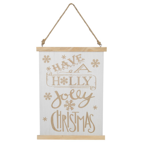 """12"""" White Wooden Holly Jolly On Jute Rope Christmas Sign - IMAGE 1"""