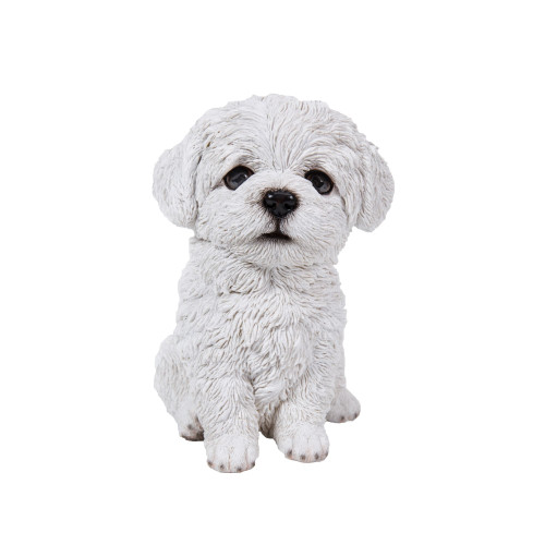 """6.75"""" White and Black Outdoor Maltese Puppy Figurine - IMAGE 1"""