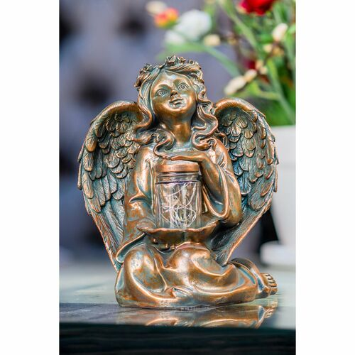 """10.5"""" Brown Angel Sitting Light In Jar with Solar LED - IMAGE 1"""