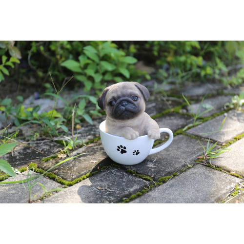 """5.7"""" Black and Beige Teacup Pug Puppy Statue - IMAGE 1"""