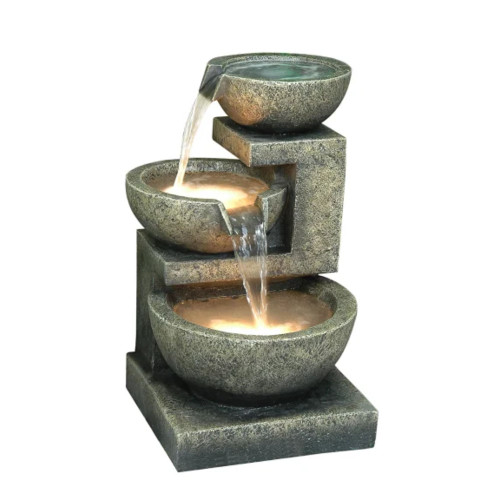 """22"""" Brown and Grey Contemporary Pouring Bowl Fountain - IMAGE 1"""