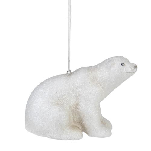 "5"" White Glitter Sitting Polar Bear Christmas Hanging Ornament - IMAGE 1"
