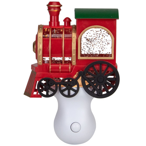 """6.5"""" Red, Green and Gold Glitter Bubble Lamp Christmas Train Night Light - IMAGE 1"""