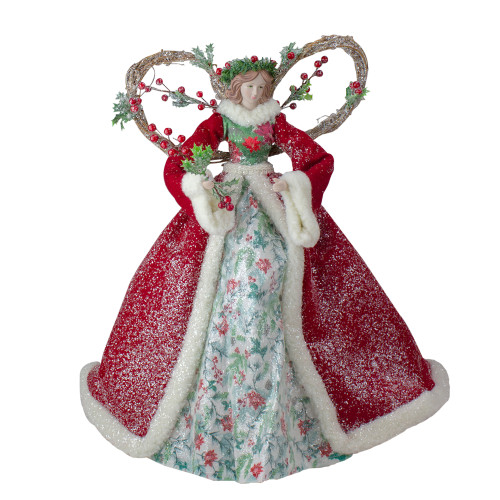 """Set of 2 Beige and Red Holly Floral Dress Angel Christmas Tree Toppers 17"""" - IMAGE 1"""