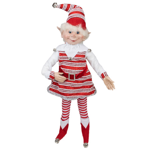 "20"" Red and White Peppermint Striped Elf with Jingle Bells - IMAGE 1"