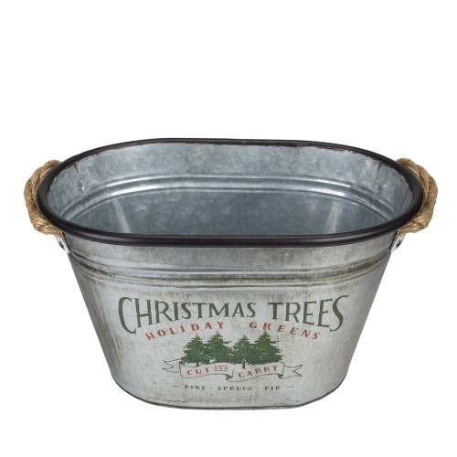 """11"""" Silver Oval Christmas Tree Bucket With Jute Rope - IMAGE 1"""