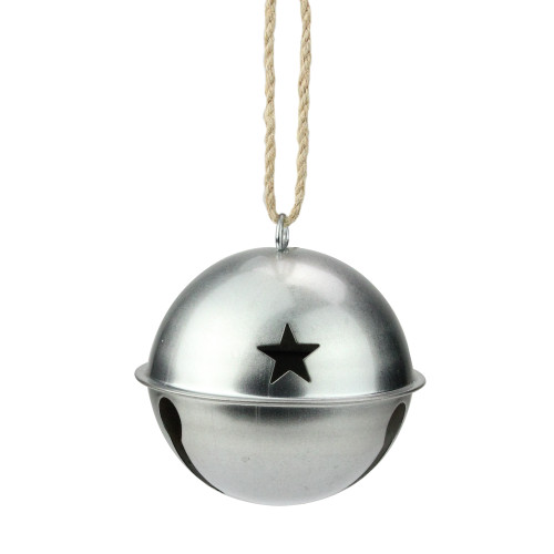 """3.25"""" Silver Jingle Bell with Star Cut Outs Christmas Ornament - IMAGE 1"""