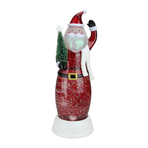 """12.5"""" LED Lighted Swirling Santa with Tree Christmas Snow Globe Glittering Snow Dome - IMAGE 1"""
