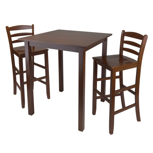 """Set of 3 Warm Walnut Finish Solid Wood Square High Table Set with 2 Ladder Bar Stool 38.75"""" - IMAGE 1"""