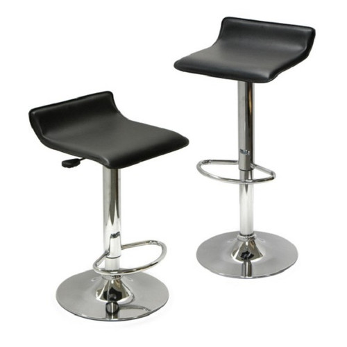 """Set of 2 Black Spectrum Leather Air – Lift Swivel Stool with footrest, 33.25"""" - IMAGE 1"""