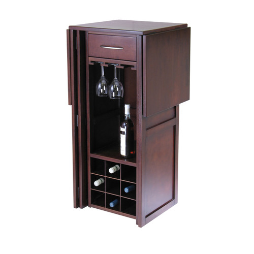 """50"""" Walnut finish Solid Composite Wood Wine Bar Expandable Counter - IMAGE 1"""