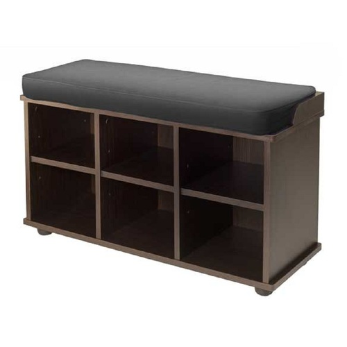 """19"""" Black and Brown Bench with Six Cube Storage and Cushion Seat - IMAGE 1"""