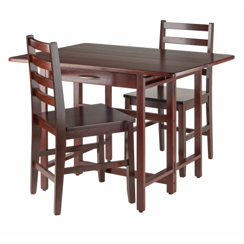 """Set of 3 Rich Walnut Drop Leaf Table with Ladder Back Design Chair 41.5"""" - IMAGE 1"""