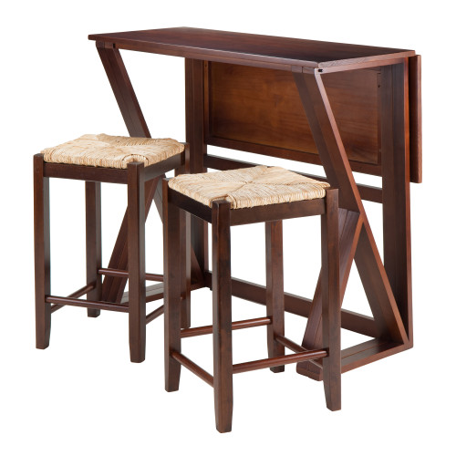 "Set of 3 Warm Walnut Wood Drop Leaf High Table with Rush Seat Stools 39.25"" - IMAGE 1"