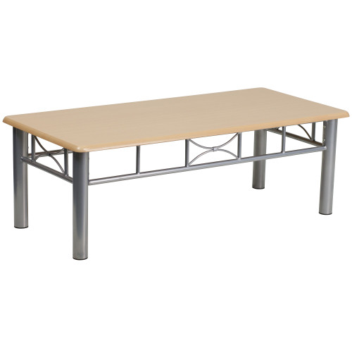 """15.5"""" Beige and Silver Contemporary Rectangular Coffee Table - IMAGE 1"""