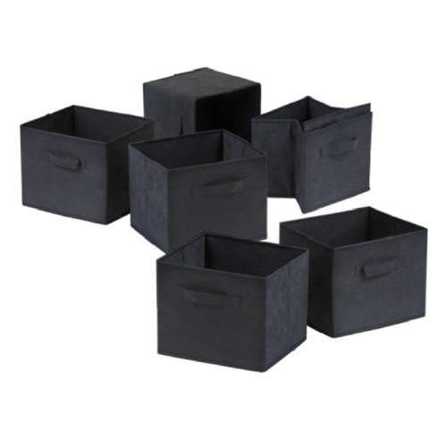 Set of 6 Black Capri Folding Fabric Baskets, 10.75 - IMAGE 1