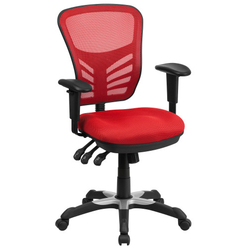 3.5' Red and Black Contemporary Swivel Ergonomic Office Chair with Adjustable Arms - IMAGE 1