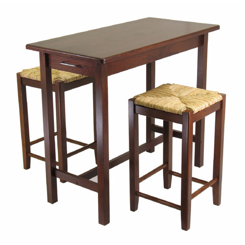 Set of 3 Walnut Kitchen Island Table with Rush Seat Stools - IMAGE 1