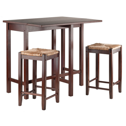"Set of 3 Antique Walnut Brown Wooden Drop Leaf Table with Rush Stools 39.25"" - IMAGE 1"
