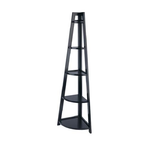 "58"" Black Elegant Adam 5-Tier A-Frame Storage and Display Corner Shelf - IMAGE 1"