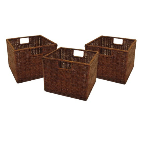 """Set of 3 Brown Wired Small Basket – 9"""" - IMAGE 1"""