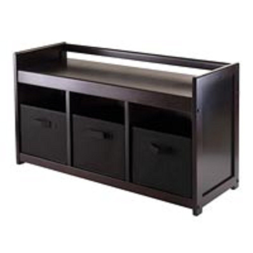 """20.75"""" Dark Brown and Black Storage Bench with Three Foldable Fabric Basket - IMAGE 1"""