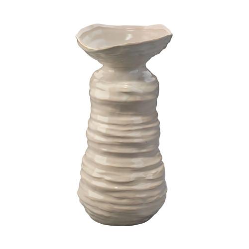 """15.5"""" Beige Ribbed Patterned Glaze Large Marine Vase - IMAGE 1"""