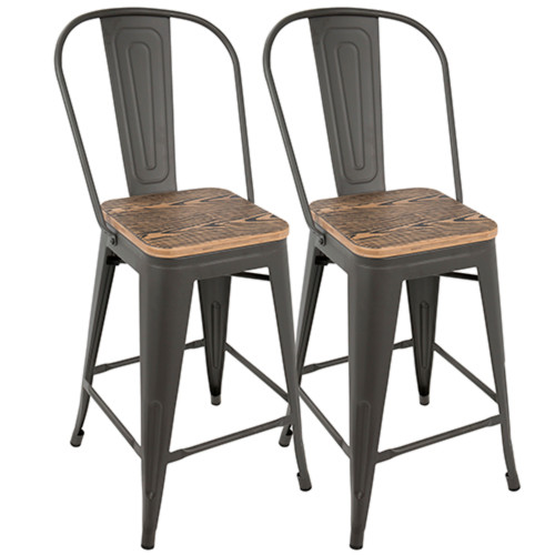"Set of 2 Oregon Industrial Gray and Brown High Back Barstools 39.5"" - IMAGE 1"