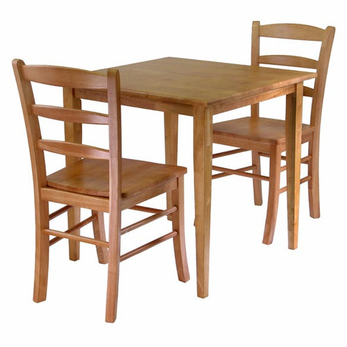 """Set of 3 Light Oak Beige Dining Table and Chairs, 34.50"""" - IMAGE 1"""