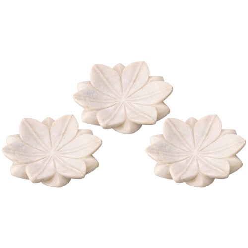 """Set of 3 Small White Lotus Marble Plate Table Top Decorations 6"""" - IMAGE 1"""